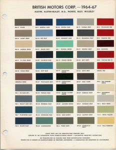 Vehicle Color Chart