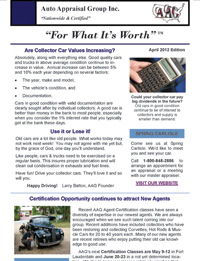 April 2012 Newsletter for Car Appraisers by Auto Appraisal Group