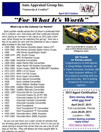 Auto Appraisal Group Newsletter on Car Appraisal - April 2013