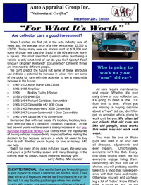 Car Appraisal Newsletter by AAG - December 2012