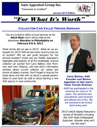 Janaury 2013 Newsletter for Auto Appraisal Group