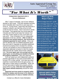 AAG Newsletter for Car Appraisers, July 2013