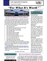 Vehicle Appraisal Newsletter, AAG, June 2012
