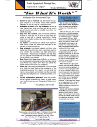 AAG Newsletter on Car Appraisal, October 2012