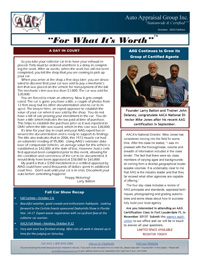 October 2013 - Newsletter for Car Appraisers
